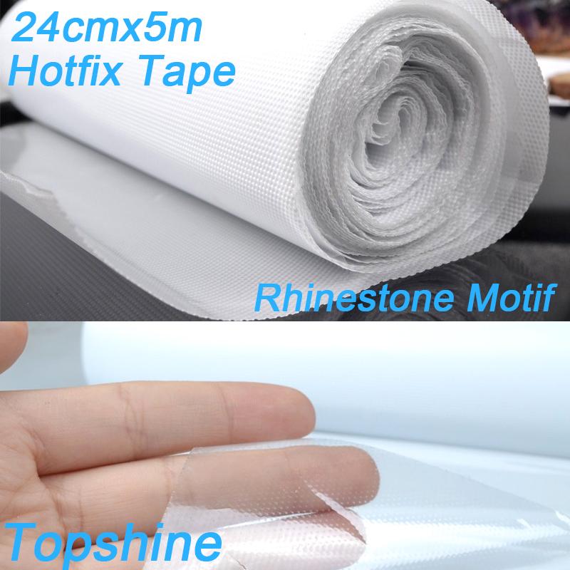 Hot Fix Transfer Paper Adhesive Film 5m x 24cm Good Quality PET Glue PVC HotFix Tape For Making Rhinestone Motif(China (Mainland))