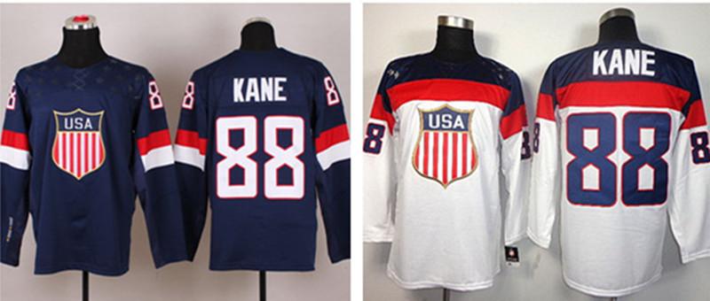New White 88 Patrick Kane USA Jersey 2014 Sochi Winter Olympic Team white dark blue Patrick Kane American Ice Hockey Jerseys(China (Mainland))
