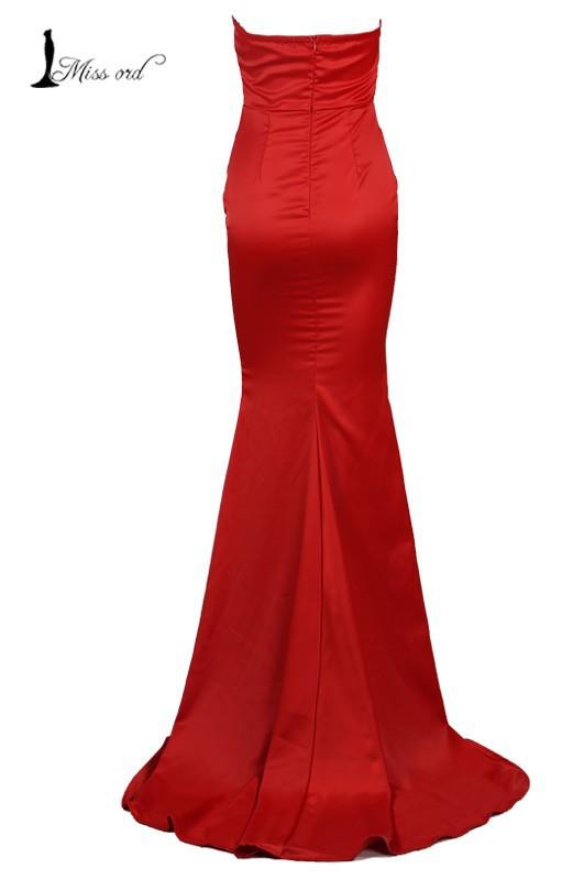 Missord   2015 Рукавless halter sexy deep v split dress FT2572