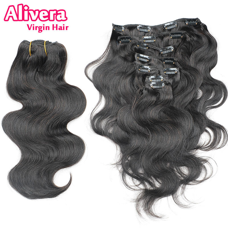 Fast Shipping 7A Grade 100% Brazilian Virgin Remy Clips Human Hair Extensions 7pcs/set Full Head Natural Black 1B Body Wave - Alivera Official Store store