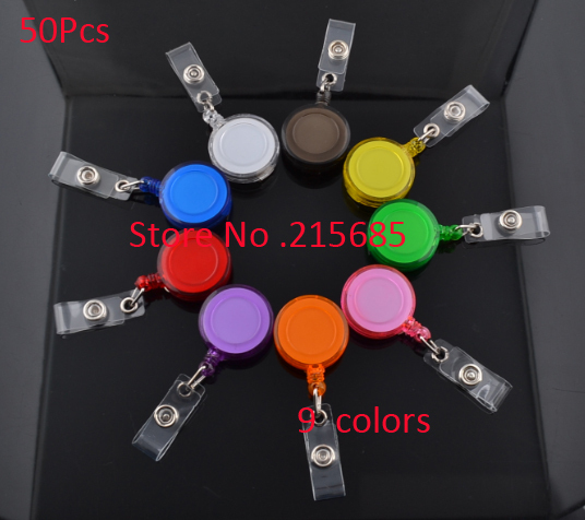 """Free Shipping !50 PCS adjustable 32"""" Round Retractable ID Reel Key Chain Badge Holder"""