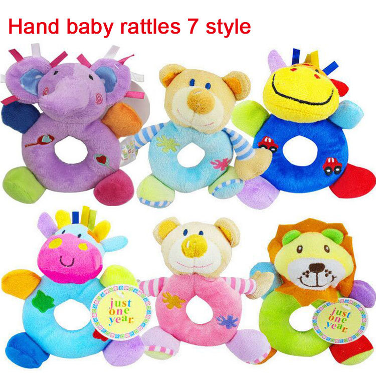 Wholesale hot sale Hand baby rattles 7 style 15cm baby hand toy high quality new 2015 Educational toys for baby 0-12 months(China (Mainland))