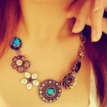 Retro Vintage European Style Gorgeous Austria Turquoise Crystal Flowers Bib Statement Necklace for Wedding Party *X-08(China (Mainland))