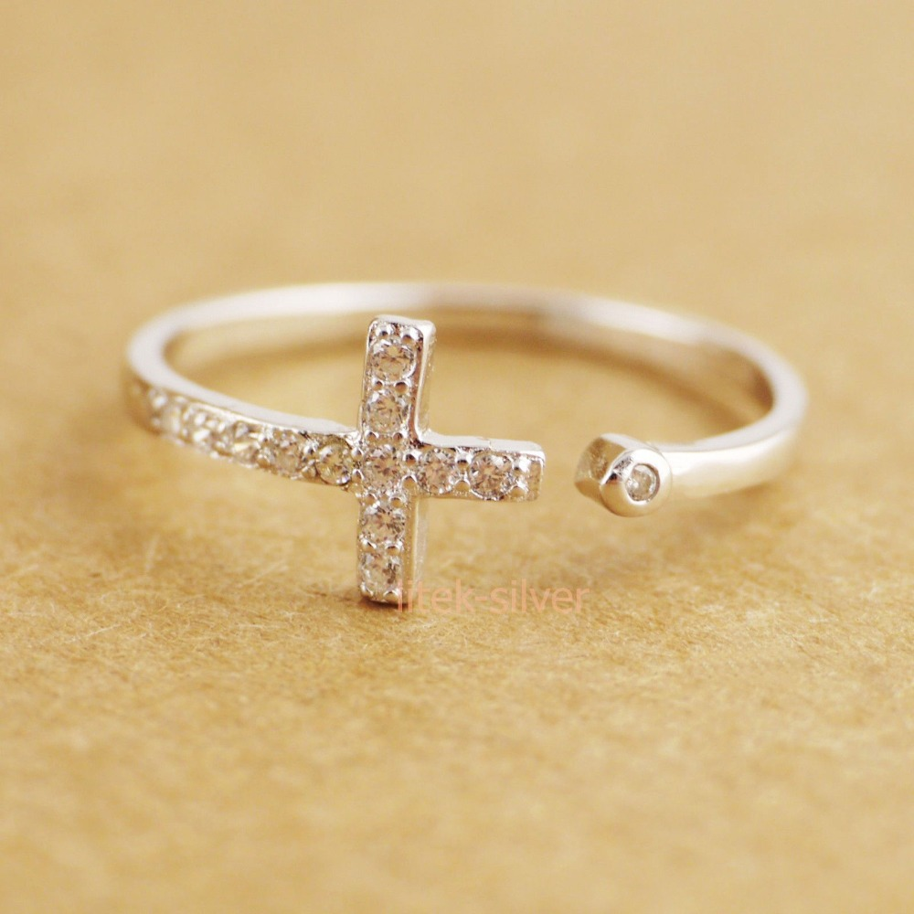 Wholesale 40% Off When Buying 5 - 925 Sterling Silver Bling Zirconia Cross Knuckle Midi Mid Pinkie Toe Ring A3113(China (Mainland))