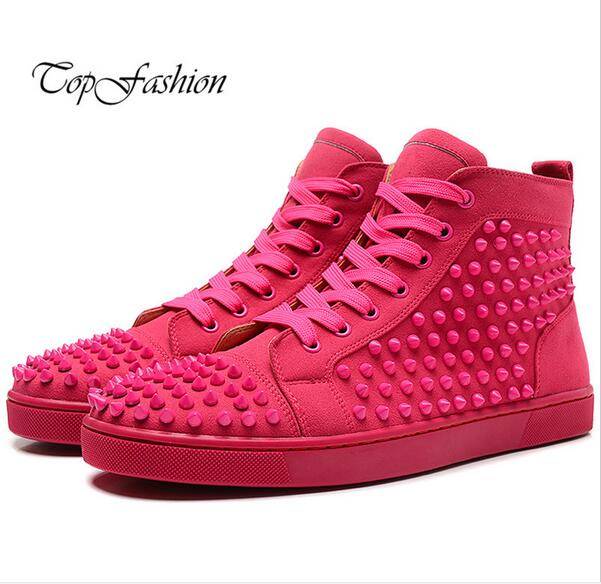 2015 New Men&Women Blue Suede With Spikes High Top Red Bottom Causal Shoes,Fashion Lovers Luxury Designer Flat Shoes 36-46(China (Mainland))