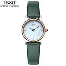 2016 Watches Women Luxury Brand IBSO Quartz Wristwatches Fashion 30m Waterproof Crystal Decorated Genuine Leather Female Clock