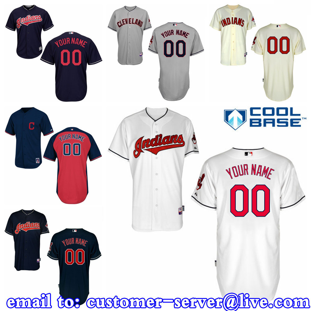 Custom Mens/LADY/Kids cleveland indians JERSEYS New Cool Base Double Stitched On Michael Brantley / Nick Swisher Baseball Jersey(China (Mainland))