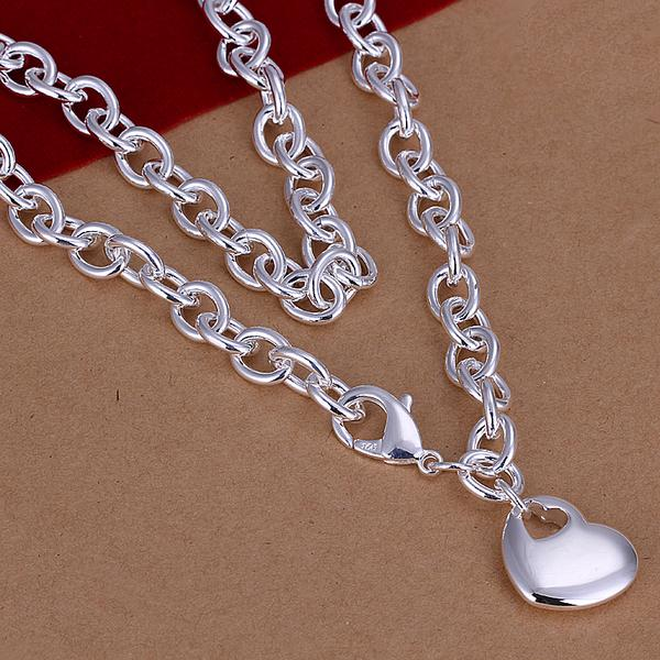 N243 Christmas gift,free shipping,Wholesale Jewelry ,10pcs 925 sterling silver Fashion men's heart in heart pendant necklace(China (Mainland))
