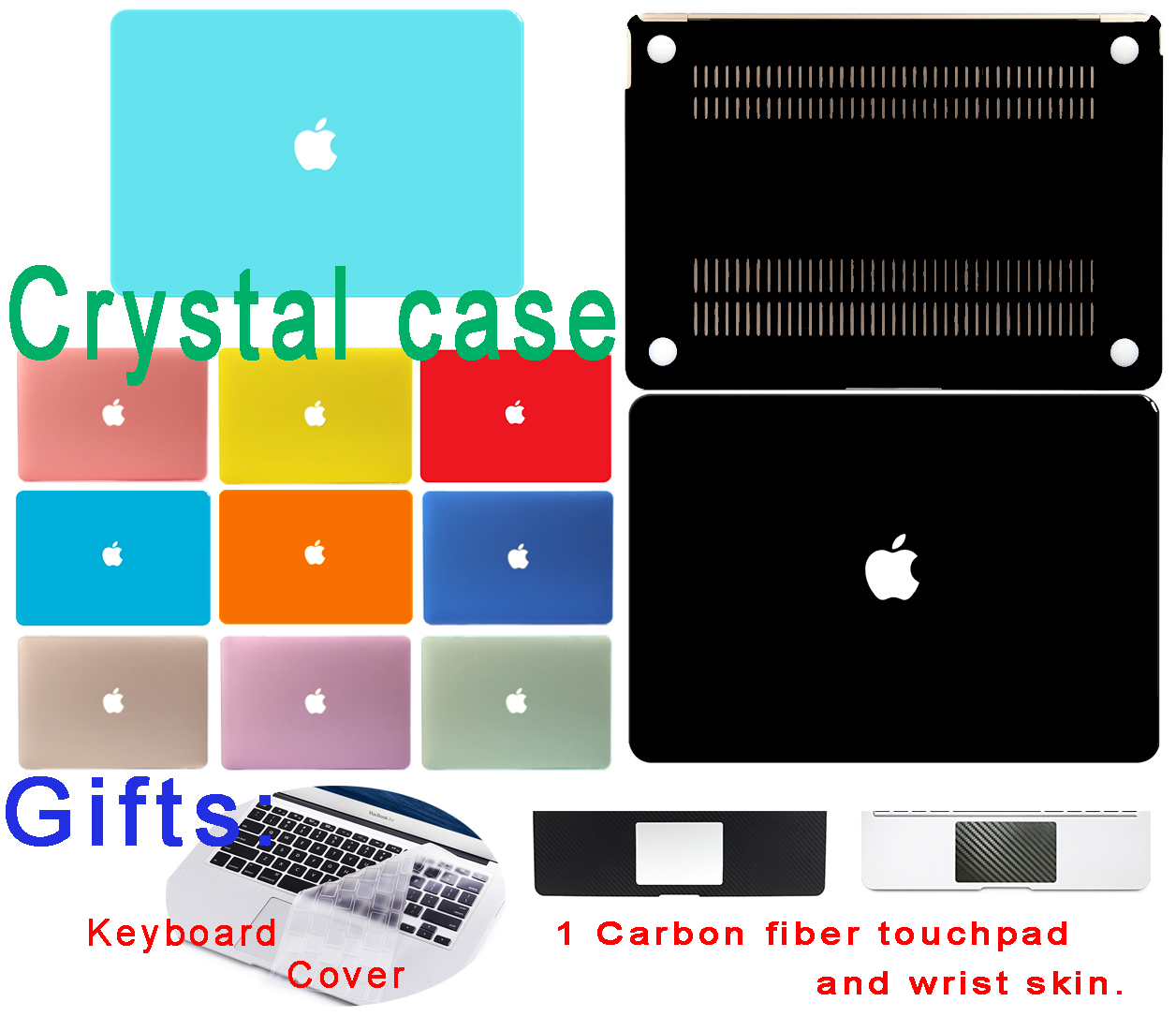 Crystal Case for Macbook Air 11 13 Case Pro 13 15 12 Retina Loptop Thin Cover Protector Shell Black Red Orange Bag(China (Mainland))