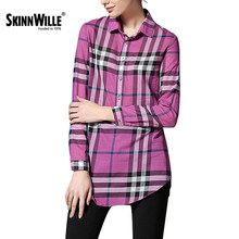 Skinnwille 2017 Весна Лето Нью-Лонг Решетки Воротник Рубашки Женские Блузки(China (Mainland))