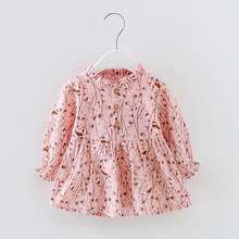 Baby Girls Dress Clothing 2017 Fashion Autumn Cotton Print Ruched Girls Dresses Cute Princess Regular Baby Clothes 4ds011(China)