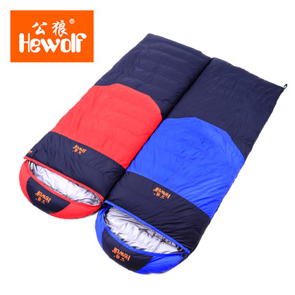 Down sleeping bag autumn and winter outdoor adult envelope style thickening thermal duck down sleeping bag  1000g filling