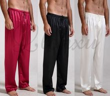 Mens Silk Satin Pajamas Pyjamas Pants Lounge Pants  Sleep Bottoms Free p&p S~4XL Plus(China (Mainland))