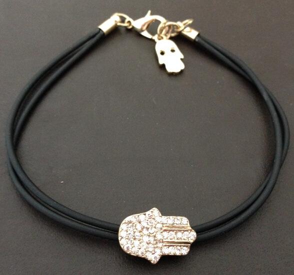 2015 Fashion Jewelry Gold Tone Charm Hamsa Hand Good Luck Evil Eye Rope Bracelet Rhinestone Gift - Ailsa store