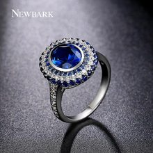 NEWBARK Brand Luxury Blue Crystal Stone Angels Ring CZ Jewelry Copper Cubic Zirconia Rings For Women Vintage Anel(China (Mainland))