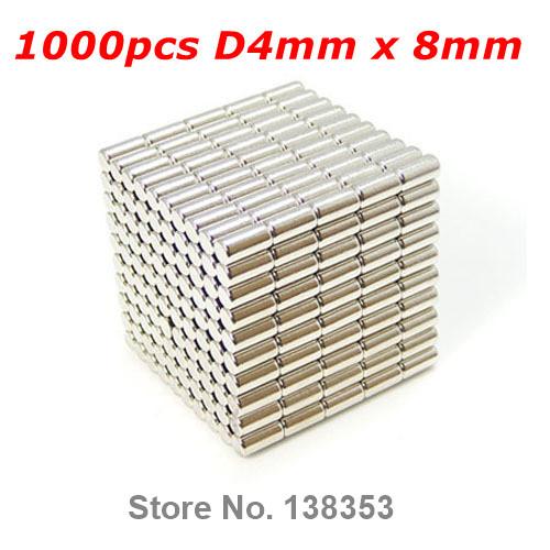 500pcs Bulk Super Strong Rare Earth Neodymium Cylinder Magnets Dia 4mm x 8mm N35 Small Round NdFeB Bar Rod Magnet<br><br>Aliexpress