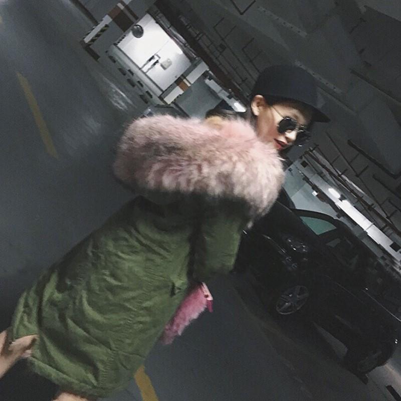 Скидки на 2015 Новый Женщины Зима Армия Зеленый и Черный Пиджак Пальто Толстые Парки Плюс Размер Реального лиса Енот Воротник С Капюшоном Верхней Одежды и меха пальто