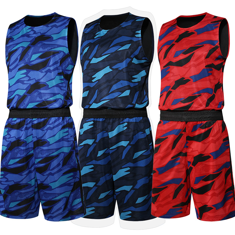 2016 New Men Basketball Jersey Set With Shorts Camouflage Sport Training Basketball Suits Reversible Big Size Can Customized(China (Mainland))