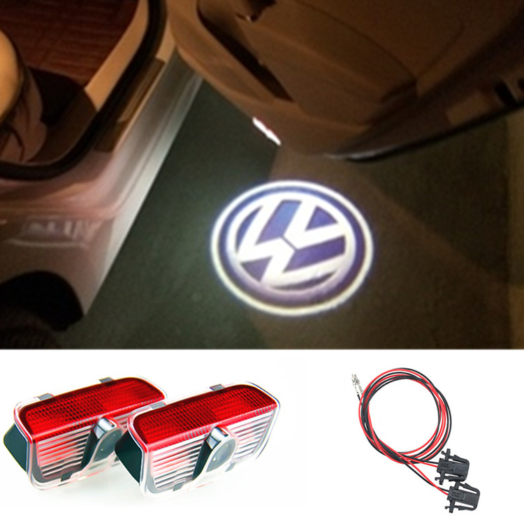 2 X CREE car door light ghost shadow welcome light logo projector emblem For VW Golf 5 6 7 JETTA MK5 MK6 CC Tiguan Passat B6 B7(China (Mainland))