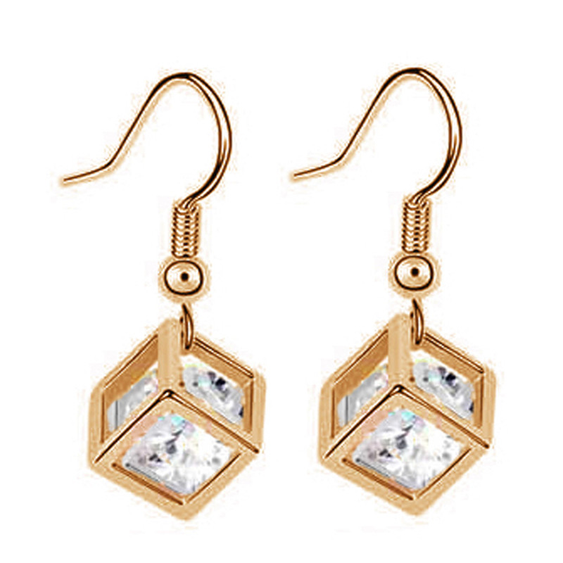 Fashion Long Earrings For Woman Jewelry Brincos 18K Gold Plated Hot Sale Colorful Cube Crystal Dangle Earrings ER0082(China (Mainland))