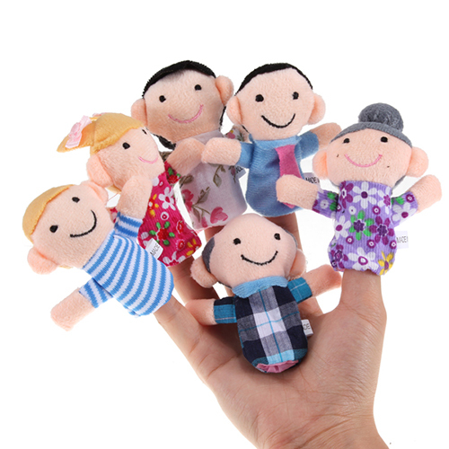 Family of Finger Puppets for Playing, 6 pcs