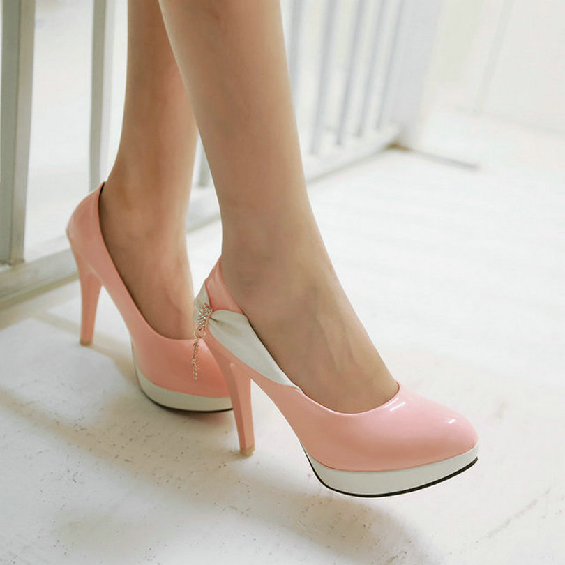 Pointed toe Mixed Color Five-Pointed Star Women Wedding Shoes Thin High Heels Fashion Pink Women's pump - CHINA YHC Co., Ltd. store