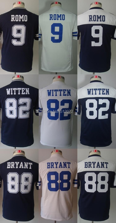 Dallas Kids Youth Authentic #9 Tony Romo #82 Jason Witten #88 Dez Bryant Football Jersey(China (Mainland))