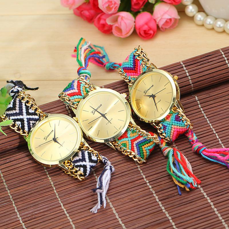 3 Colors Charming Braided Rope Bracelet Watches Hand Made Women Quartz  Watches<br><br>Aliexpress