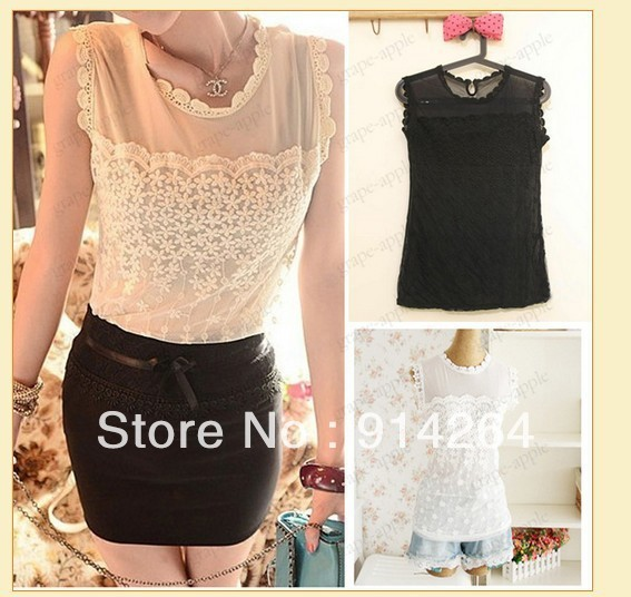 CHIC WOMENS CREW NECK SLEEVELESS MESH TOP 3569   /free shipping + tracking number