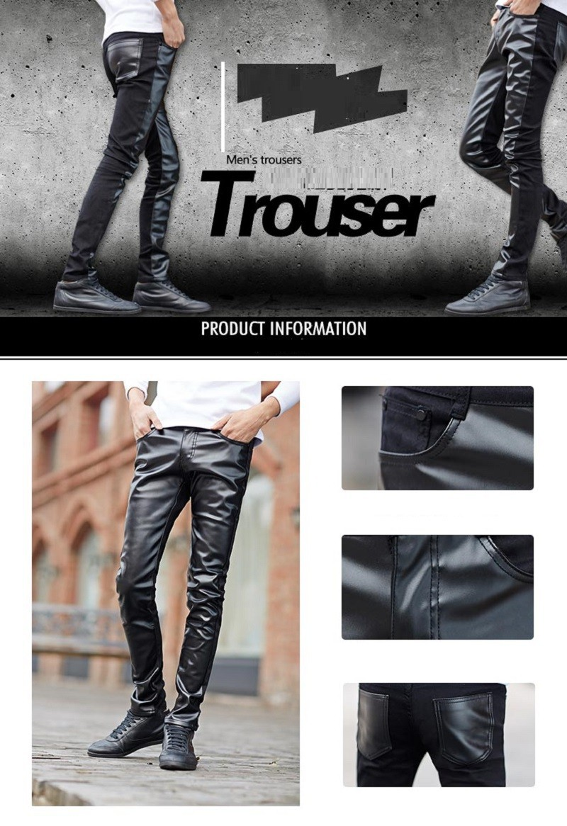 Скидки на 2015 пу кожа шить джинсы ковбоя карандаш брюки досуг джинсы