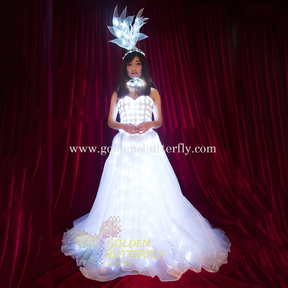Led wedding dress luminous suits light clothing glowing for Best wedding dresses for dancing