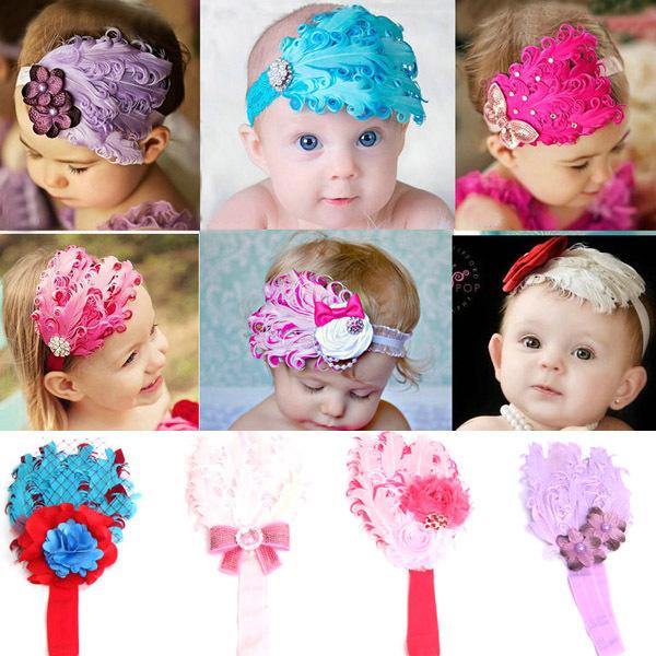 Гаджет  Toddlers Baby Kids Cute Flowers Feather Rhinestone Headband Hearwear Hairband Free Shipping & Drop shipping XL138 None Детские товары