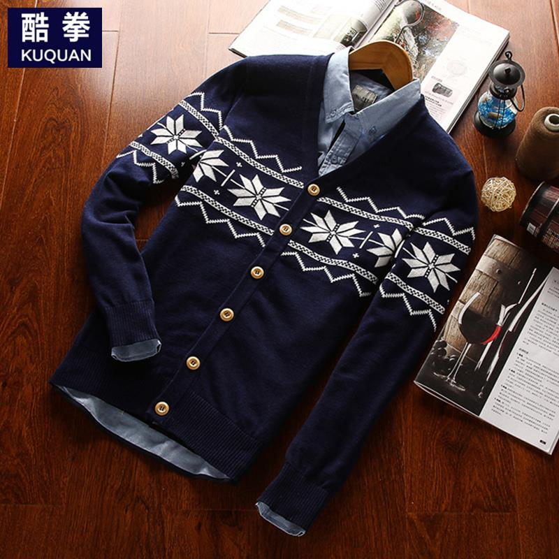 Sweater male cardigan V-neck sweater outerwear male autumn jacquard mens clothing 100% cotton sweater maleОдежда и ак�е��уары<br><br><br>Aliexpress