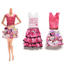 2 Pcs/set Skirt Short-sleeved T-shirt for Barbies Kids Doll Clothes Tutu Skirt Clothes for Barbie Doll(China (Mainland))