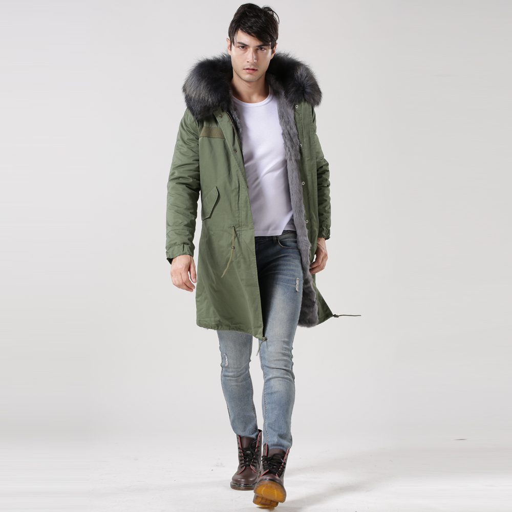 Most Popular And Hotsale Gray Faxu Fur Lined Man Parka In UK(China (Mainland))