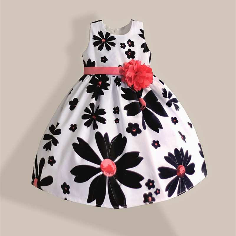 White Girl Dress Black Floral with Pink Flower Bow Belt Cotton Princess Kids Summer Dresses For Girls Party Dress Wedding 3-8T<br><br>Aliexpress