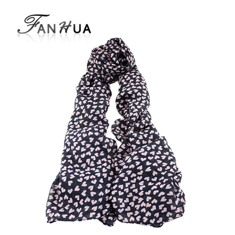 Pink Heart Print Black Chiffon Novelty Scarf New 2014 Fashion Designer Long Wraps For Women(China (Mainland))