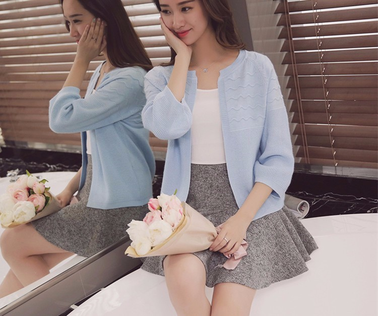 2016 Spring Autumn Casual sweaters 8 color wave type lantern Sleeve O-neck Knitted Cashmere Cardigan loose coat Cardigans Female