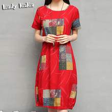 2016 Chinese Style Summer Vintage Plaid Print Dress Cotton Linen Dresses Casual Plus Size Women Clothing Ethnic Female Vestidos(China (Mainland))
