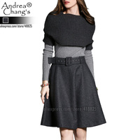 2015 winter spring designer women's clothing set skirt suit dark grey knitted cape skirt light grey sweater fashion brand set