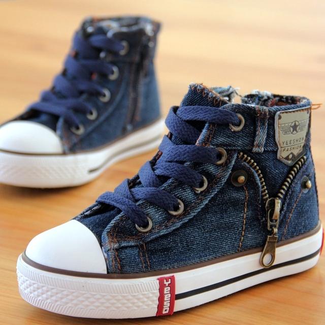 14 видов новое поступление размер 25 - 37 обувь для детей холст кроссовки мальчиков джинсы квартиры девушки сапоги боковые молнии обувь