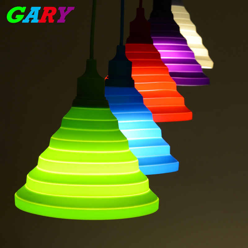 Pendant lights colorful Led E27 lamparas colgantes pendente de teto Silicone Vintage Edison lustre rope Pendant lamp light(China (Mainland))