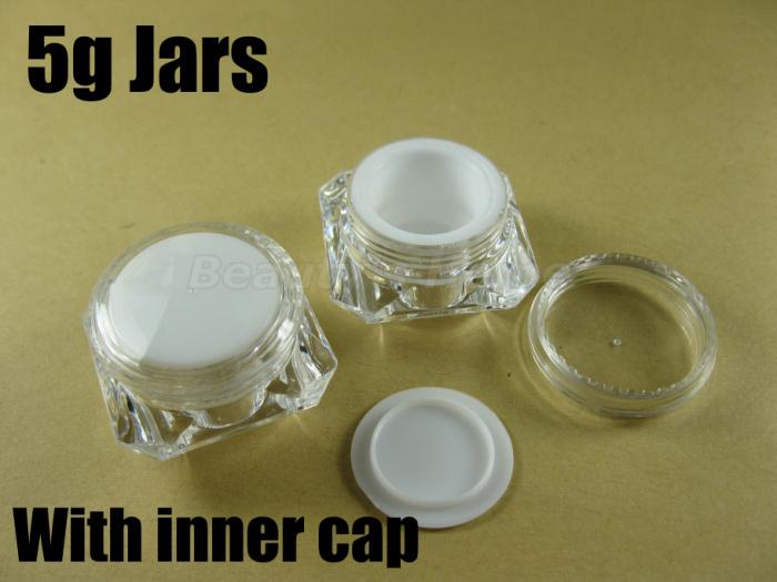 5ml jars like diamand inner cap make cosmetic cream jar refillable Empty Bottle #1903 - Packing Supplier(Bottles and Jars store)