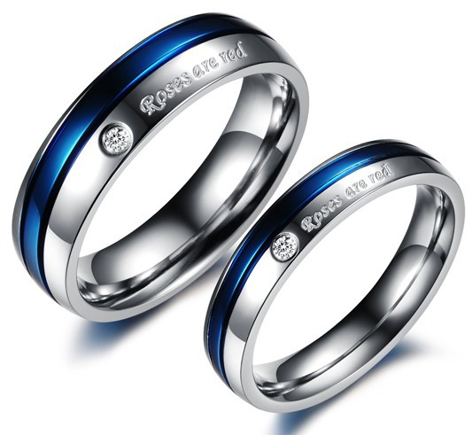 Blue Engagement Rings For Men And Women His And Hers Promise Ring Sets Stainl
