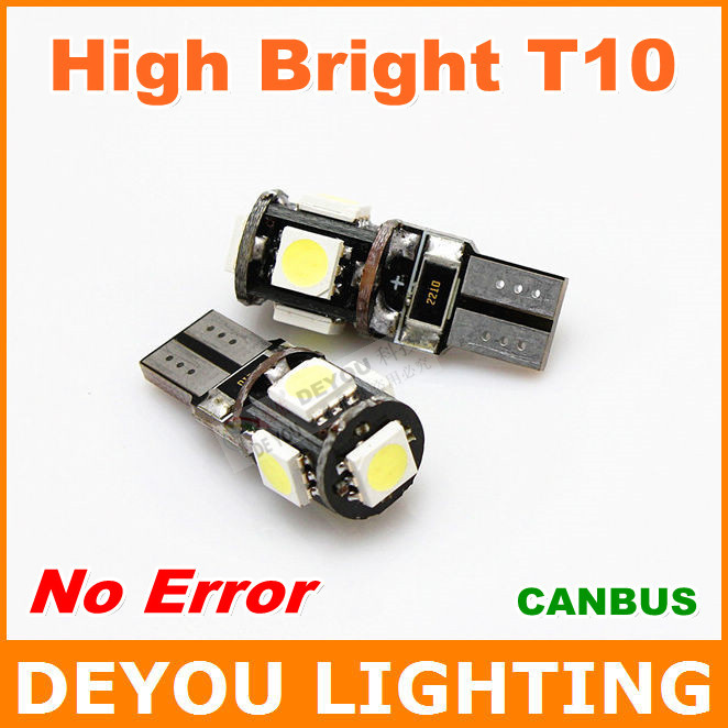 High Bright No Error Canbus T10 W5W 168 921 5SMD 5050 LED width Lamp car wedge light bulb car lighting 1year warranty(China (Mainland))
