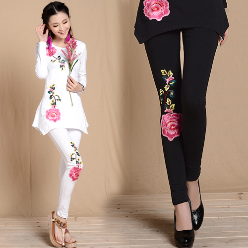 M L XL XXL 3XL Черный Белый embroidery leggings for Женщины spring autumn bohemian ...