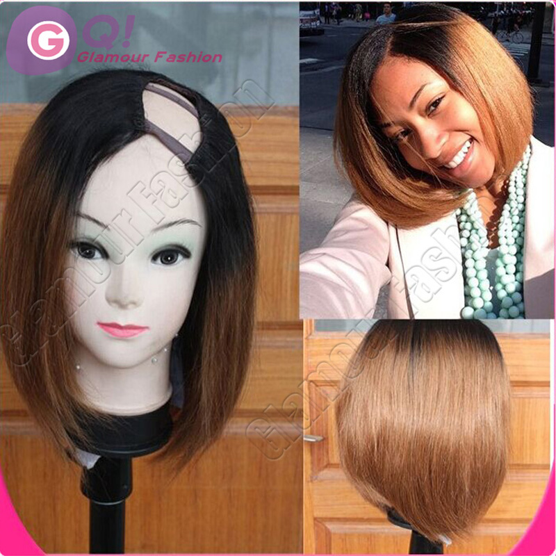 GQ fashion ombre bob wig T1b/30 ombre u part wig short human hair two tone wigs for black women fast shipping by DHL on sale(China (Mainland))