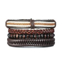 Vnox 3 pcs/ Set Evil Blue Eyes Bracelets for Men Multi Layered Leather Bangle Wood Beads(China)