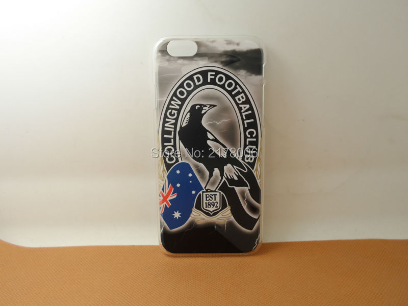 Free Shipping Painting AFL Collingwood Football Plastic Hard Skin Cover For Apple iphone 6 4.7 inch Clear Cell Phone Case(China (Mainland))