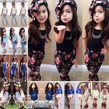 RT-0126 girls summer clothes set 2015 children girls T-shirt + flower pants clothes set kids short sleeve clothing sets(China (Mainland))